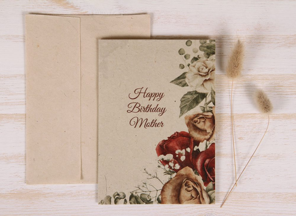 Plantable Birthday Card for Mother - Copper Rose - Front