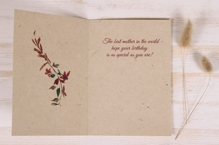 Plantable Birthday Card for Mother - Flowers & Twigs - inside