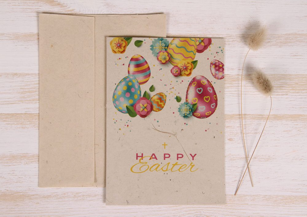 Plantable Easter Card - Vibrant Eggs - Front