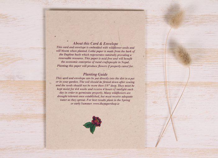 Plantable Engagement Card - Floral Heart - Back