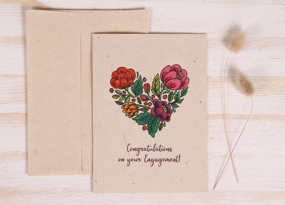 Plantable Engagement Card - Floral Heart - Front