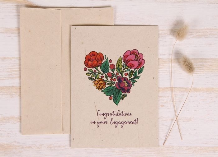 Plantable Engagement Card - Floral Heart - Front