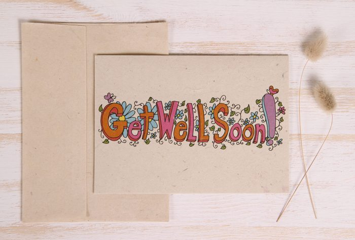 Plantable Get Well Soon Card - Floral Text - Front