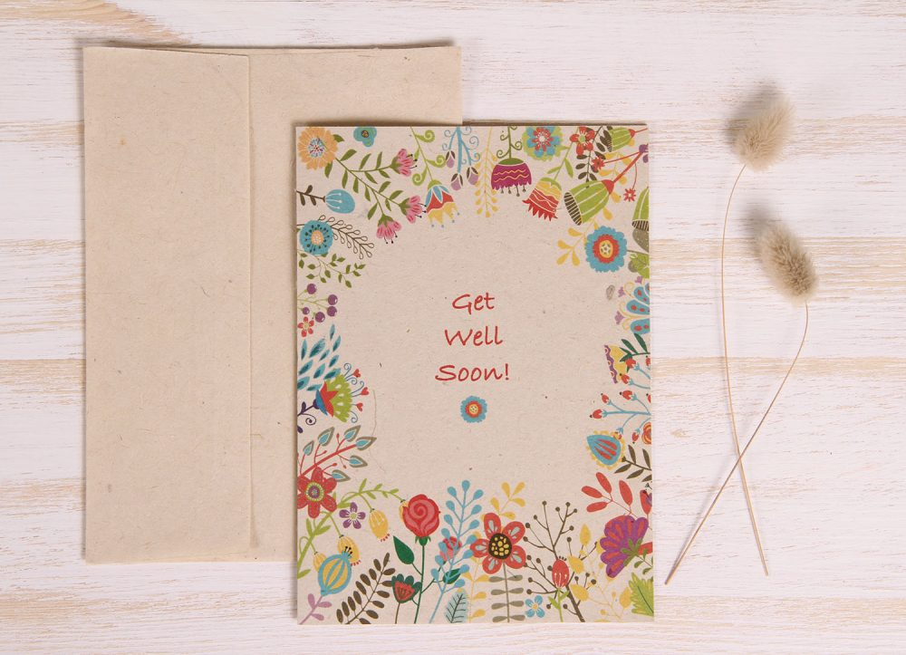 Plantable Get Well Soon Card - Spring Flowers - Front