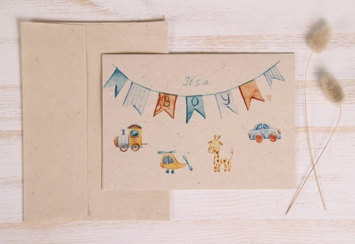 Plantable New Baby Boy Card - Toys - Front