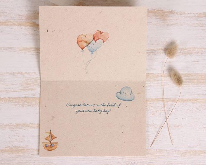 Plantable New Baby Boy Card - Toys - Inside