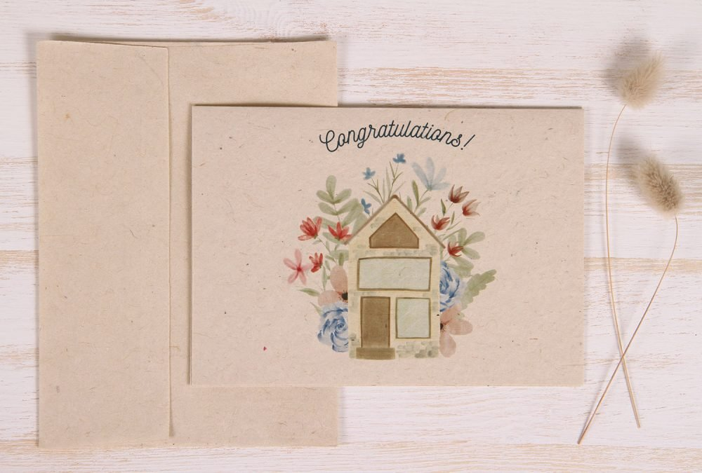 Plantable New Home Card - Flower House - Front