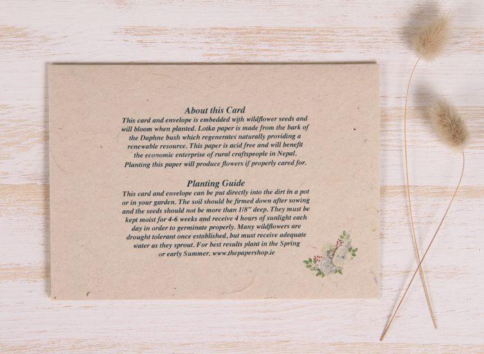 Plantable New House Card - Flower House - Back
