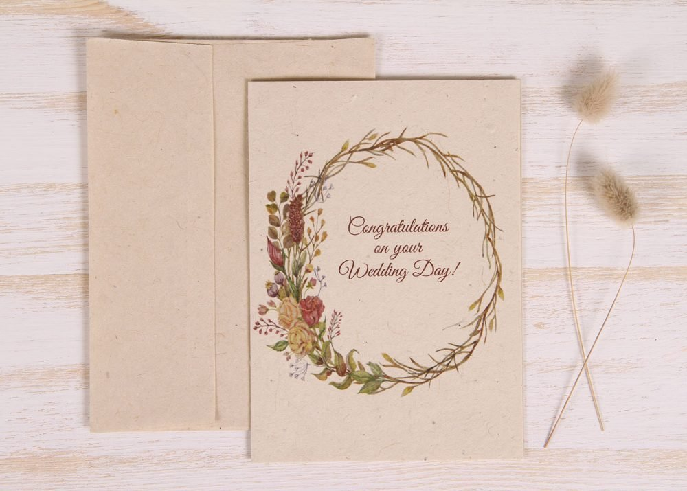 Plantable Wedding Day Card - Natural Wreath - Front
