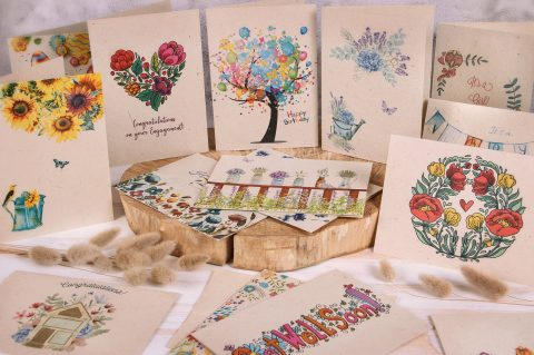StillLife Plantable Greeting Cards - mason jars on wood