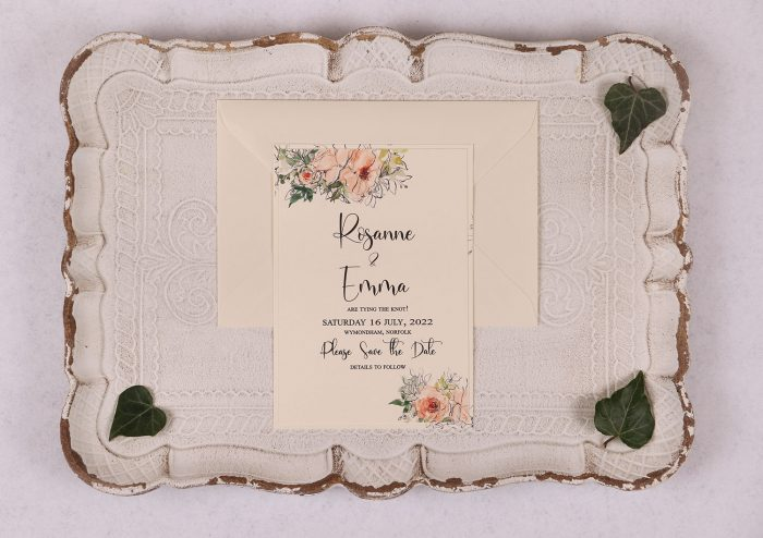 Water Colour Rose - Save the Date - Peach