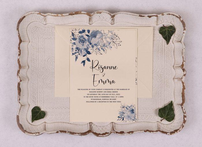 Watercolour Rose Day Invitation - Blue