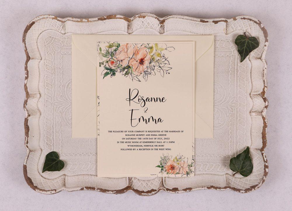 Watercolour Rose Day Invitation - Peach