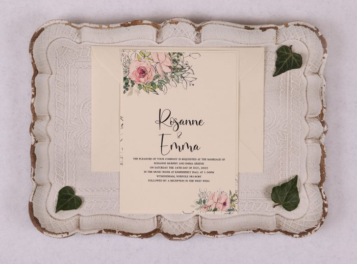 Watercolour Rose Day Invitation - Pink