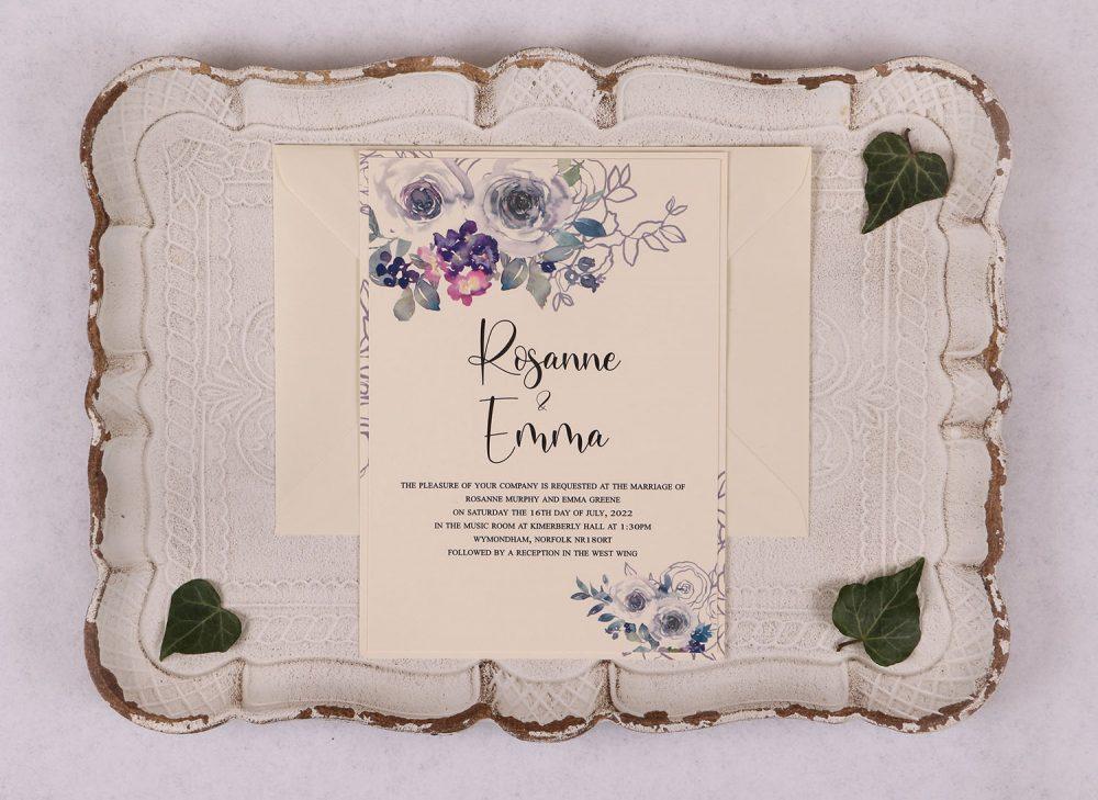 Watercolour Rose Day Invitation - Violet