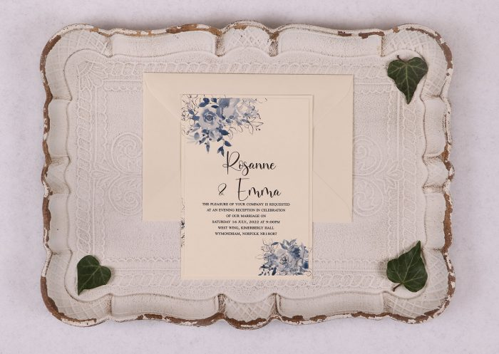 Watercolour Rose Evening Invitation - Blue