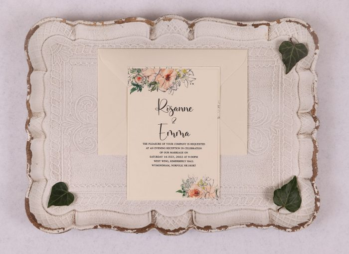Watercolour Rose - Evening Invitation - Peach