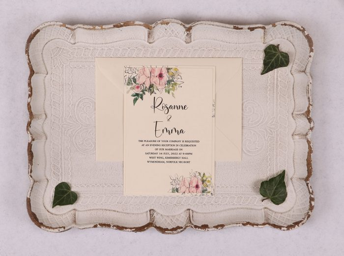 Watercolour Rose Evening Invitation - Pink