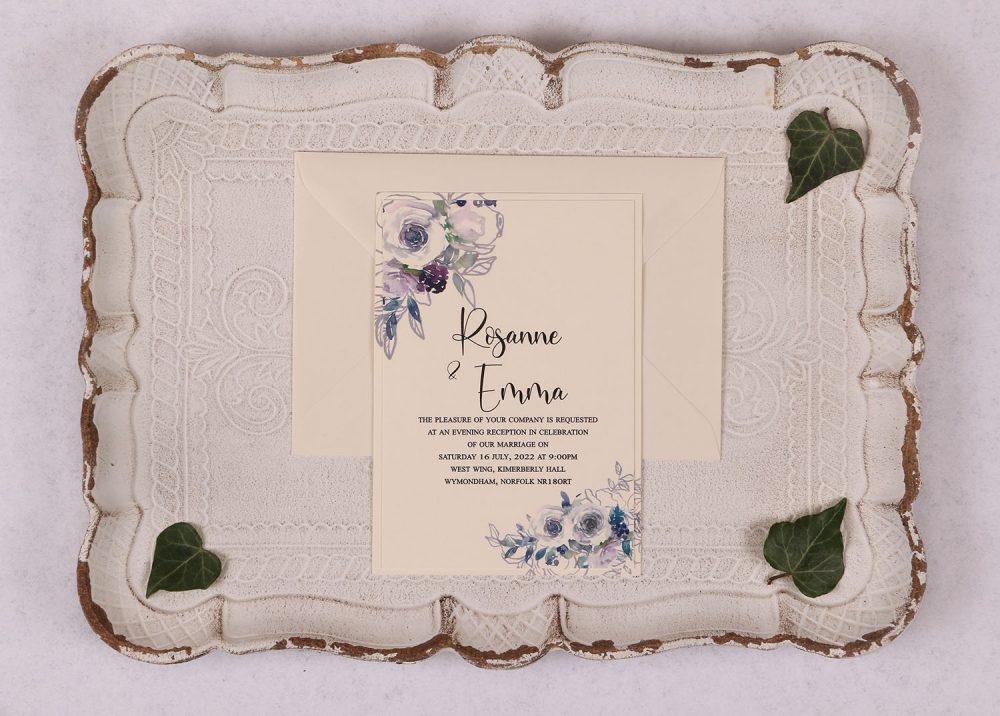 Watercolour Rose Evening Invitation - Violet