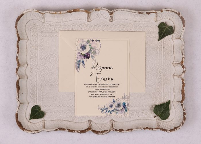 Watercolour Rose Evening Invitation - Violet