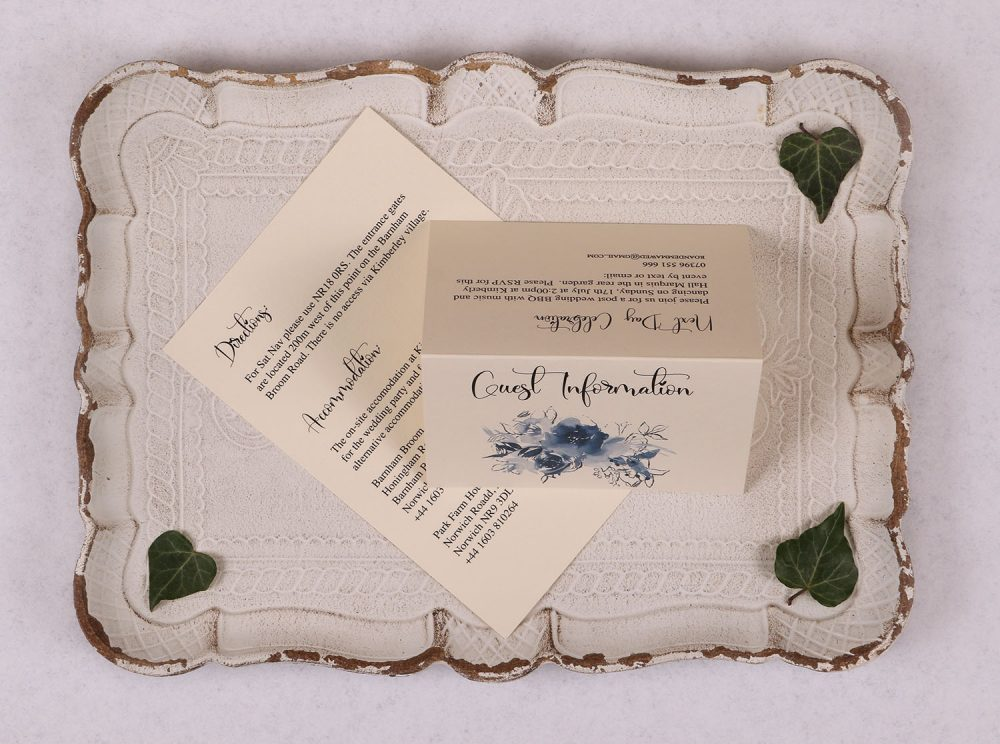 Watercolour Rose - Guest Information Card - Blue
