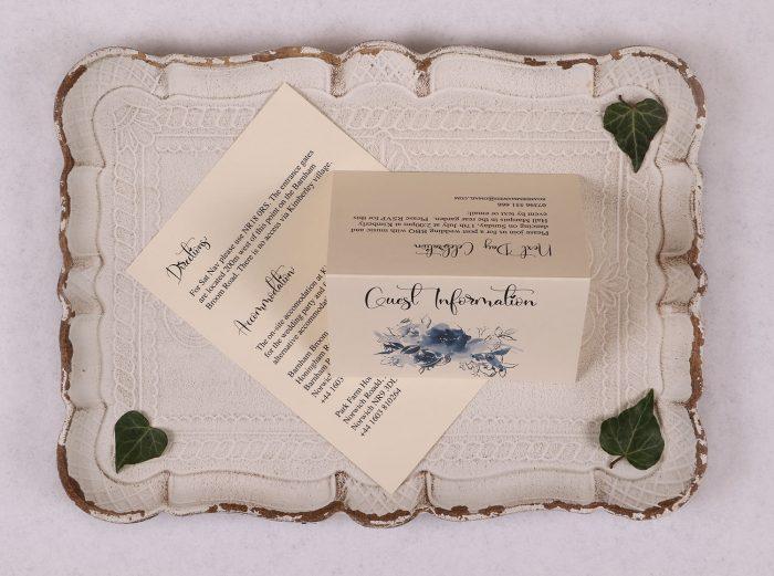 Watercolour Rose - Guest Information Card - Blue