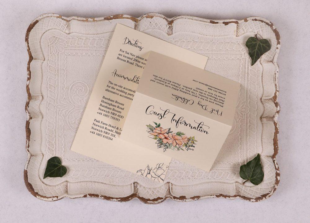 Watercolour Rose - Guest Information Card - Peach