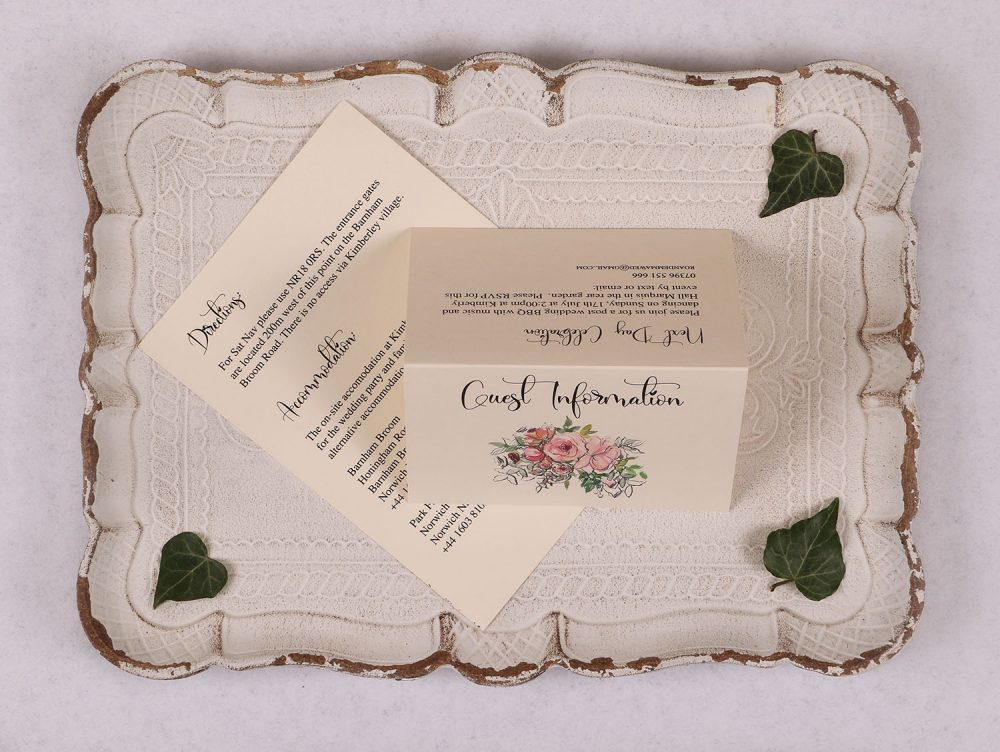 Watercolour Rose Guest Information Card - Pink