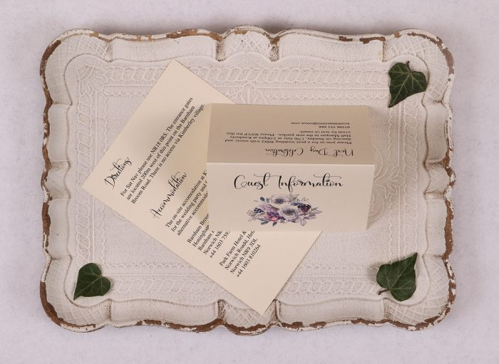 Watercolour Rose - Guest Information Card - Violet