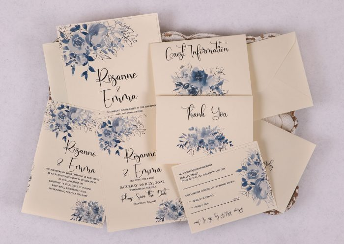 Watercolour Rose Invitation Suite - Blue
