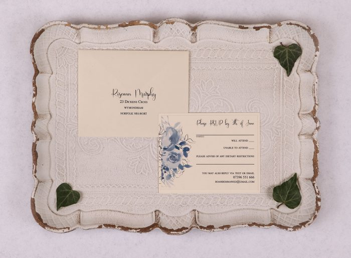 Watercolour Rose RSVP Card - Blue
