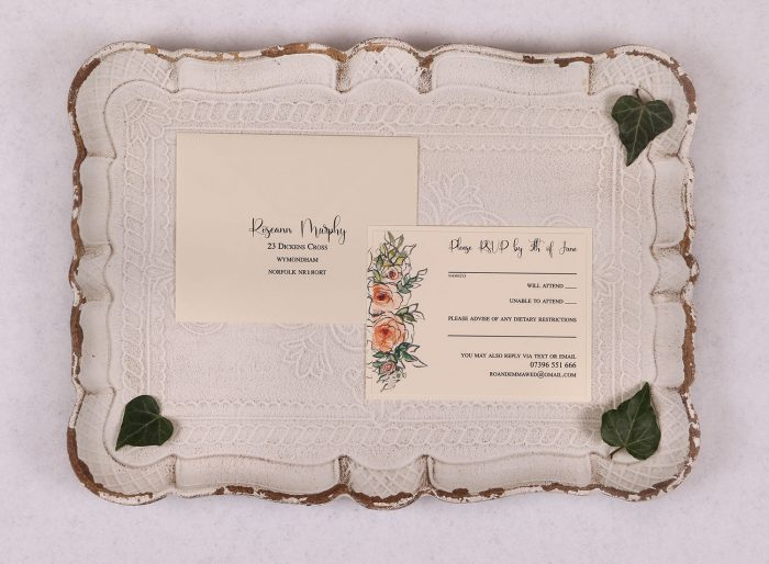 Watercolour Rose RSVP Card - Peach