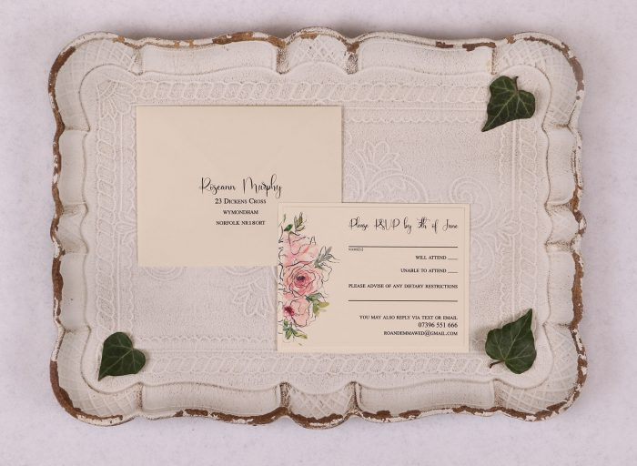Watercolour Rose RSVP Card - Pink