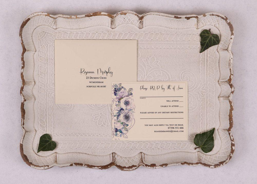 Watercolour Rose RSVP Card - Violet