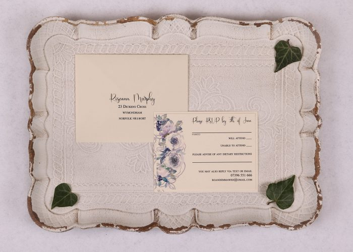 Watercolour Rose RSVP Card - Violet