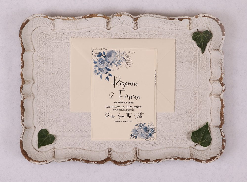 Watercolour Rose Save the Date Card - Blue
