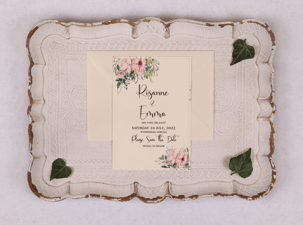 Watercolour Rose Save the Date Card - Pink
