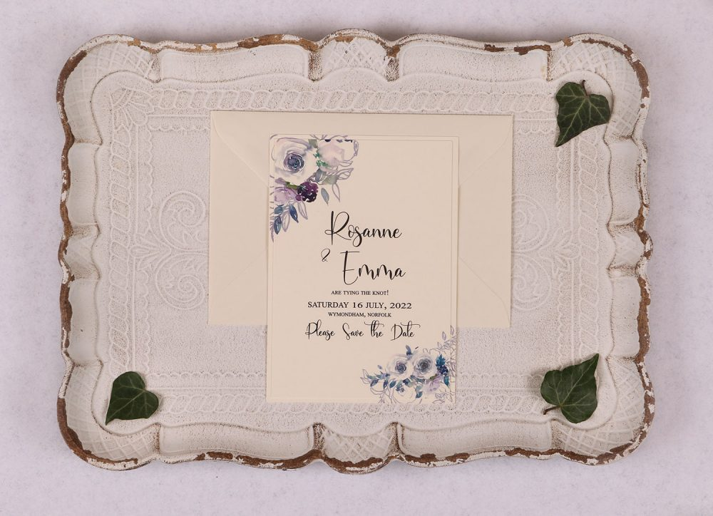 Watercolour Rose Save the Date Card - Violet