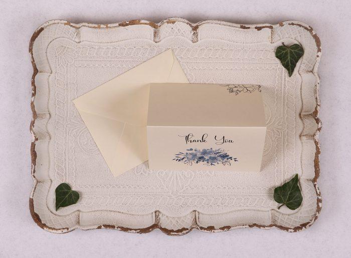 Watercolour Rose Thank You Card - Blue