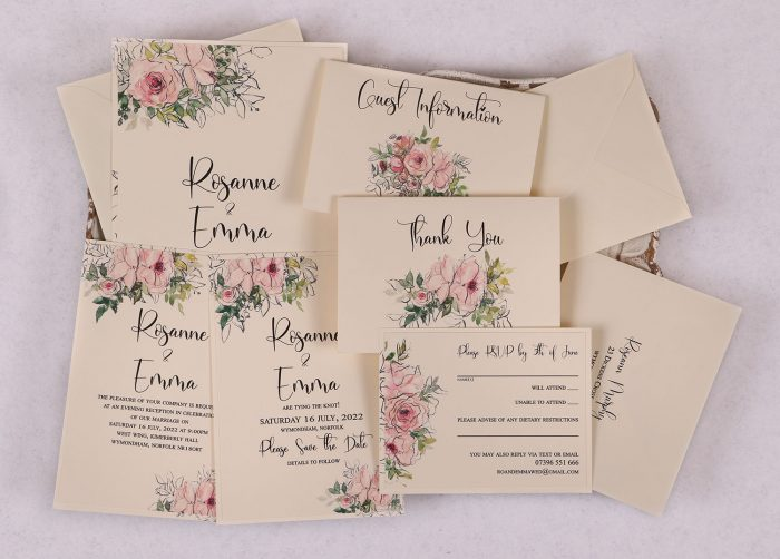 Watercolour Rose Wedding Invitation Suite - Pink