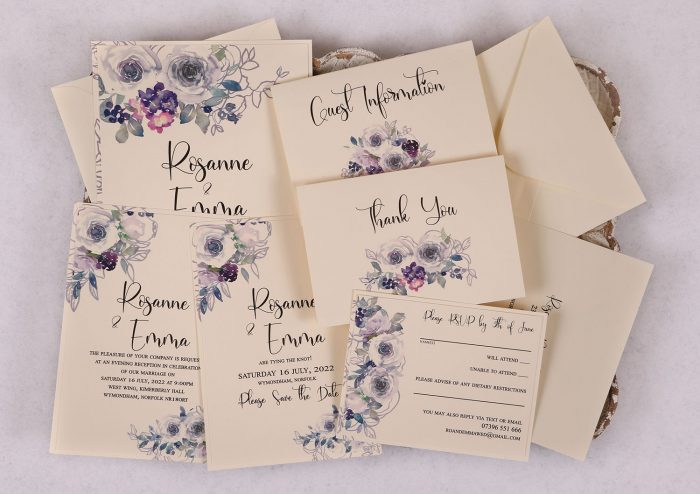 Watercolour Rose Wedding Invitation Suite - Violet