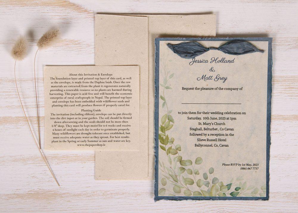 Lotka - Blue - Dual Layer Plantable Invitation (design_Eucaluptus