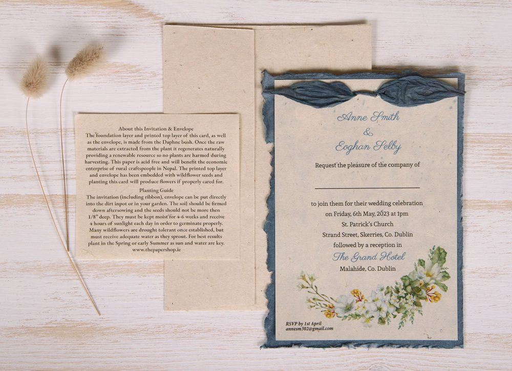 Lotka - Blue - Dual Layer Plantable Invitation (design_Spring_Wreath)