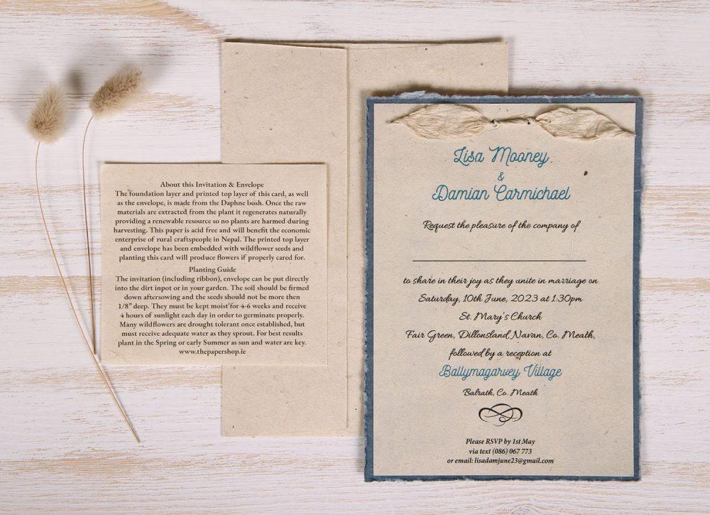 Lotka - Blue - Dual Layer Plantable Invitation (design_Traditional)