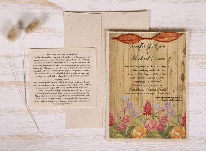Lotka - Natural - Dual Layer Plantable Invitation (design_Floral_Oak)