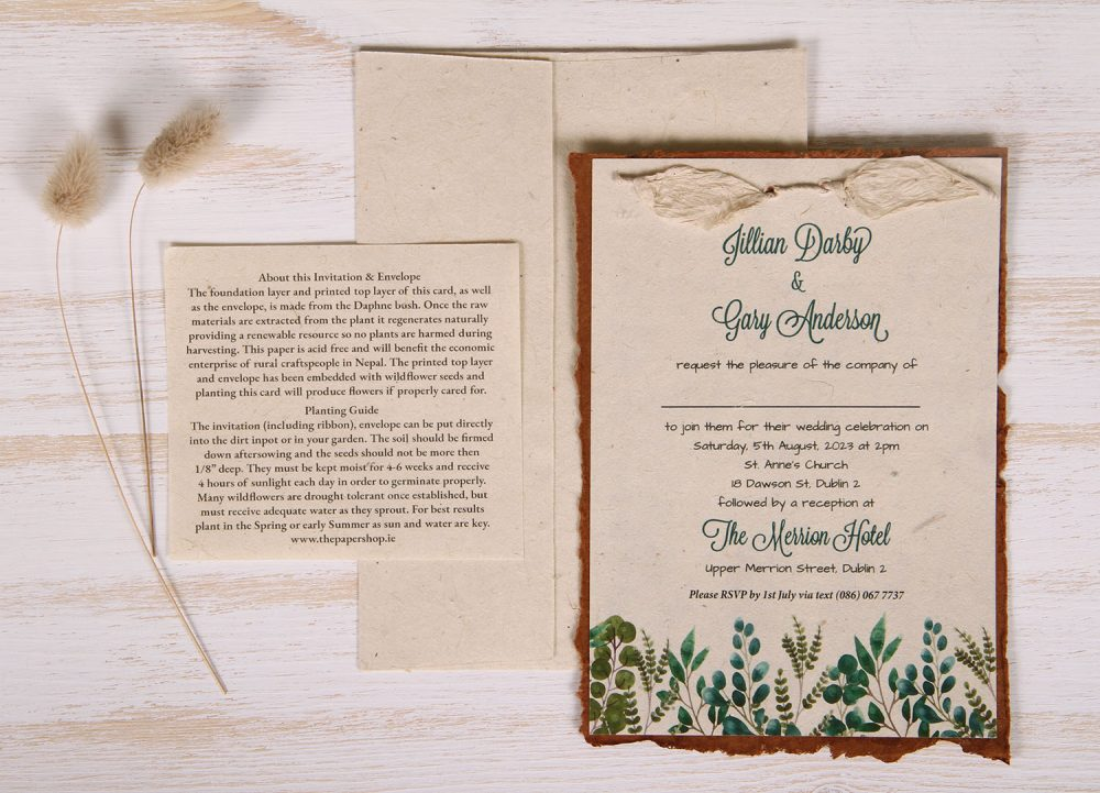 Lotka - Russet - Dual Layer Plantable Invitation (design_Eucalyptus-&-Fern)