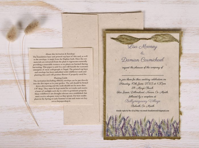 Lotka - Sage - Dual Layer Plantable Invitation (design_Field_of_Lavender)