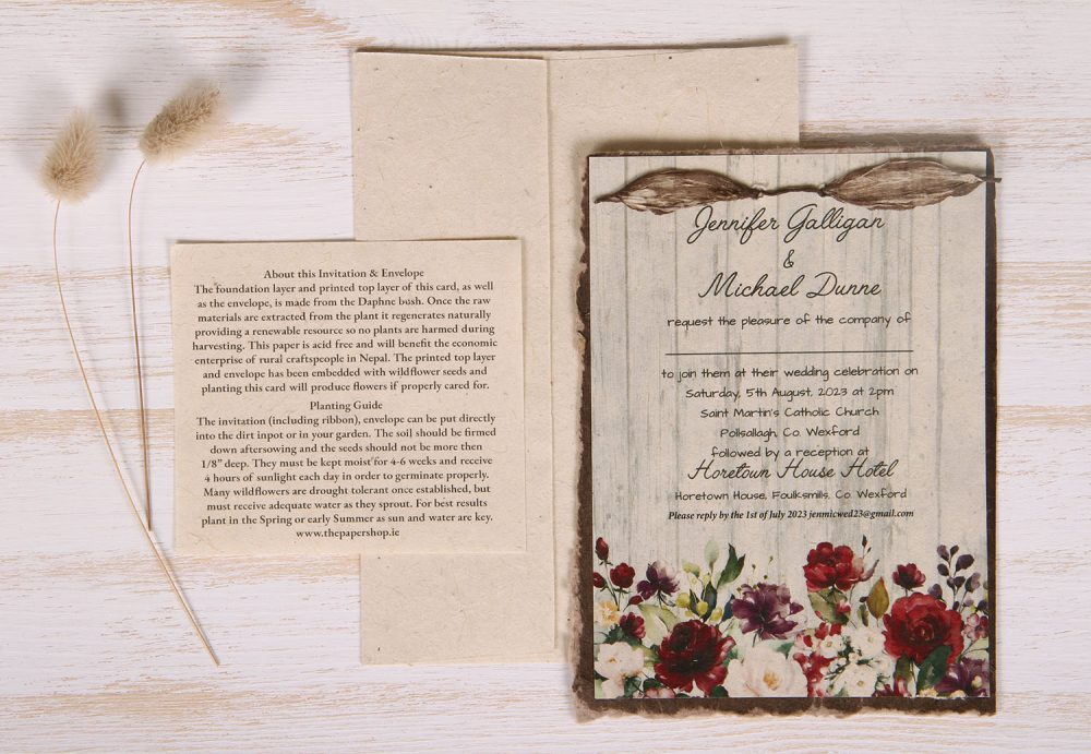 Lotka - Umber - Dual Layer Plantable Invitation (design_Country_Rose)