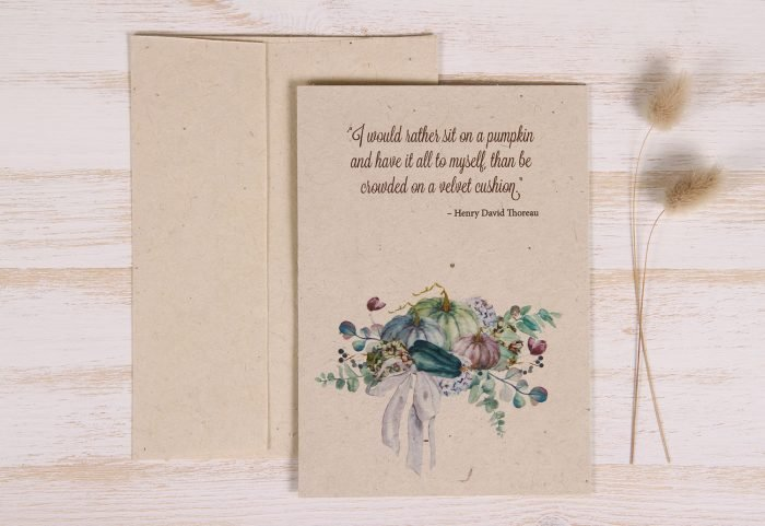 Plantable Autumn Card - Lavender Pumpkins - Front