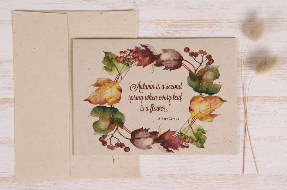 Plantable Autumn Card - Leaves - Front